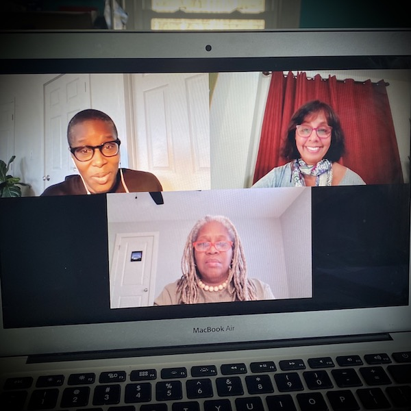 Three scholars on Zoom discussing Black land ownership.