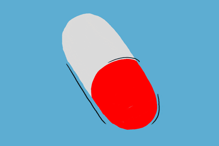 illustration of red and white oblong pill on blue background