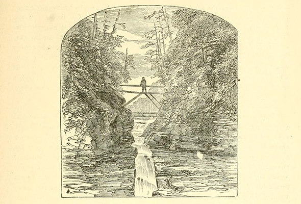 historical drawing of a person on a bridge over a gorge and waterfall in Ithaca, NY