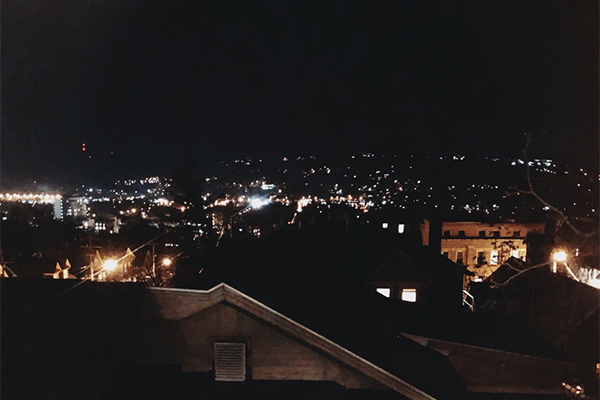 distant view of Ithaca at night