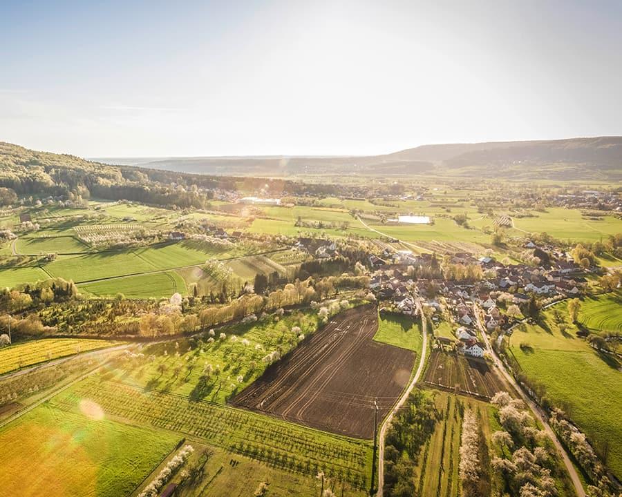 bird's eye view of rural landscape